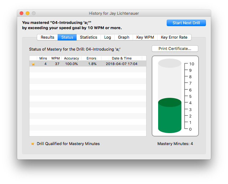 The history window on Master Key for the Mac