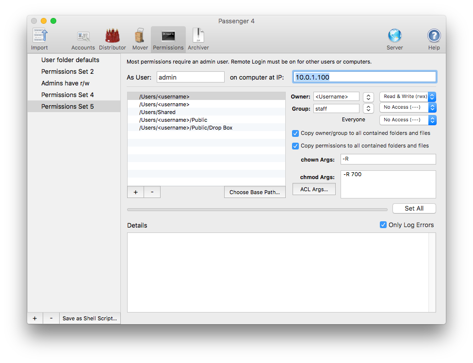 Batch Permissions for Passenger allow you to fix permissions problems in OS X Server in no time